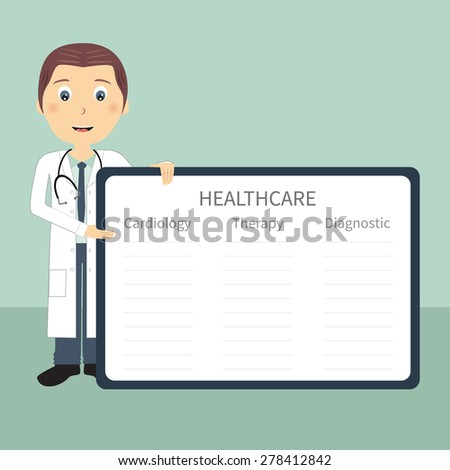 Doctor with frame in flat design. Doctor present with frame and sample data. Vector file is easy to edit and ready for use. - stock vector