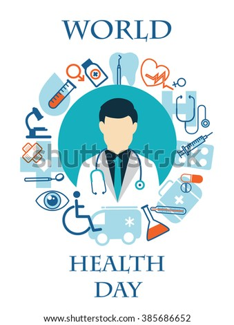 Doctor with stethoscope around his neck and medical icons - stock vector