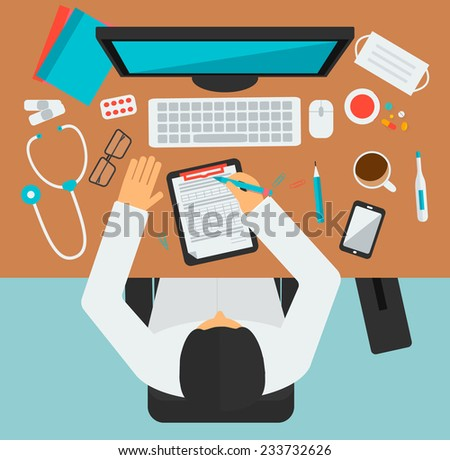 Doctor workplace, vector illustration. Male person in doctor's smock sitting at the table in medical clinic. Medicine icons set in flat design style  - stock vector
