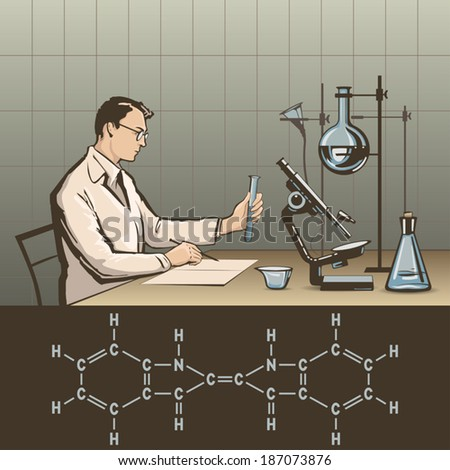 Doctor writing report about scientific research in laboratory vector illustration - stock vector