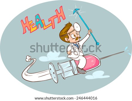 doctors and air syringe - stock vector