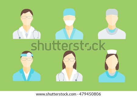 Doctors and Medical Staff Set for Emergency and Hospital. Flat Design Style. Vector illustration