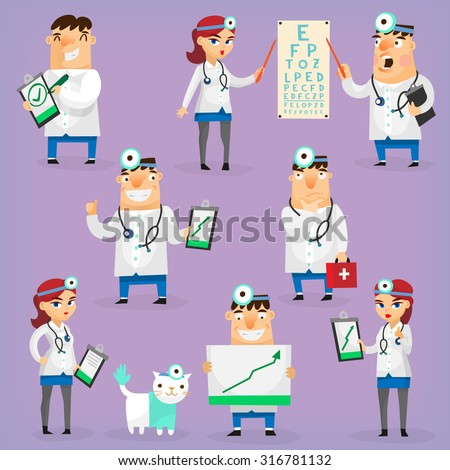 Doctors and nurses characters in hospital uniform treat patients and research positive dynamics. Isolated vector  - stock vector
