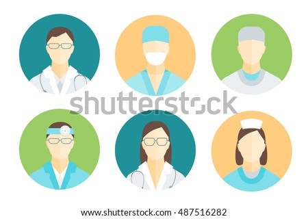 Doctors and nurses Medical Staff avatars Set Flat Pixel Perfect Art. Vector illustration of doctor, nurse, surgeons and other medicals practitioners.