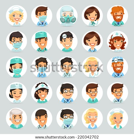 Doctors Cartoon Characters Icons Set2. In the EPS file, each element is grouped separately. - stock vector