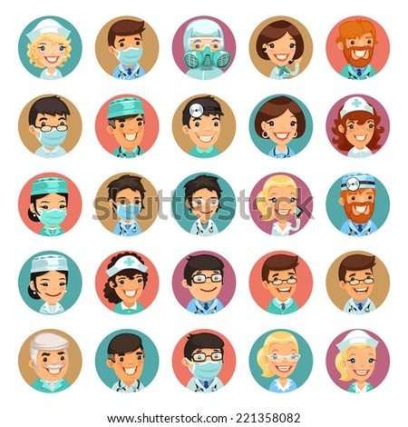 Doctors Cartoon Characters Icons Set3. In the EPS file, each element is grouped separately. - stock vector