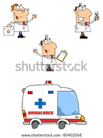 Doctors Cartoon Characters-Vector Collection - stock vector