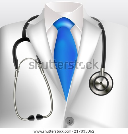 Doctors lab white coat and stethoscope - stock vector