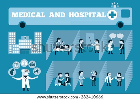 Doctors occupation professional health care set isolated vector illustration - stock vector