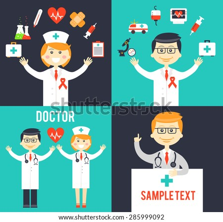 Doctors with medical icons posters. Thermometer and medicine care, heart and emergency, vector illustration - stock vector