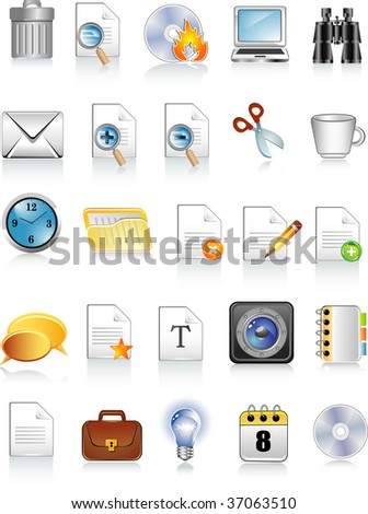 document and office icons - stock vector