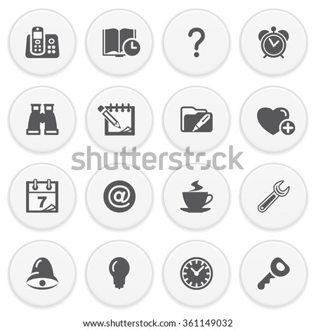 Document black icons with buttons. - stock vector