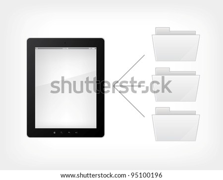 Document Concept.Tablet PC on Grey Gradient Background. Vector. - stock vector