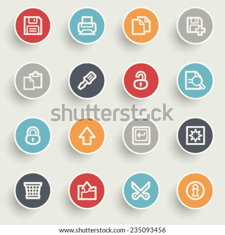 Document contour icons on color buttons. - stock vector