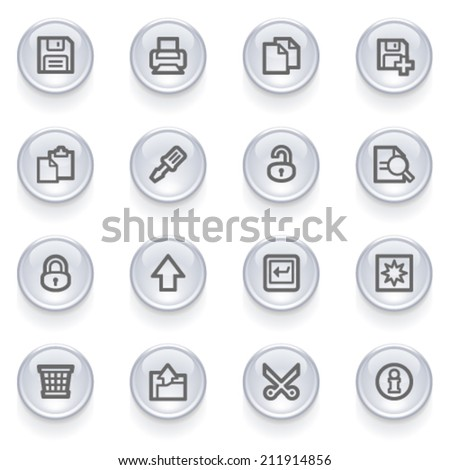 Document contour icons on glossy buttons. - stock vector