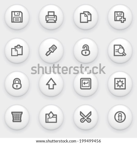 Document contour icons on white buttons. - stock vector