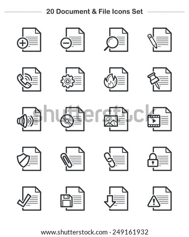 Document & File Icons set, Line icon - Vector illustration - stock vector