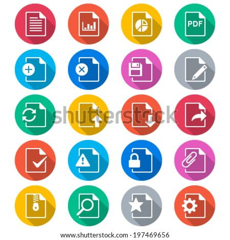 Document flat color icons - stock vector