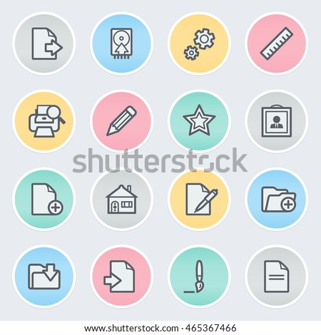 Document flat contour icons on color stickers.
