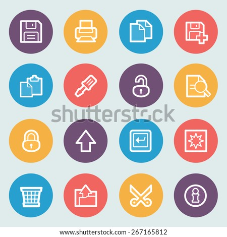 Document flat contour icons on colors buttons. - stock vector