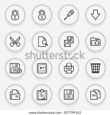 Document flat contour icons on gray background.