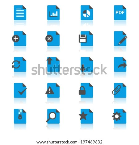 Document flat with reflection icons - stock vector