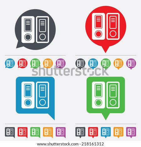Document folder sign. Accounting binder symbol. Bookkeeping management. Speech bubbles information icons. 24 colored buttons. Vector - stock vector