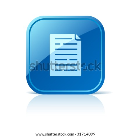 Document icon on blue glossy square vector web button - stock vector