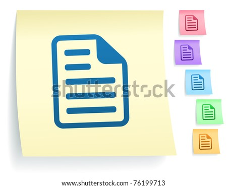 Document Icon on Post It Note Paper Collection Original Illustration - stock vector