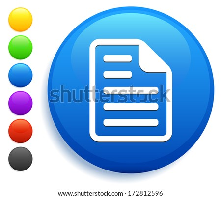 Document Icon on Round Button Collection - stock vector