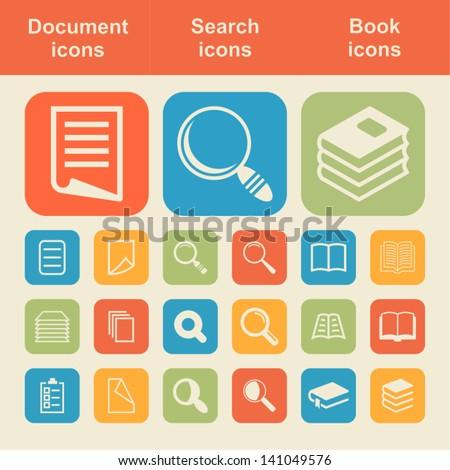 Document icon set - stock vector