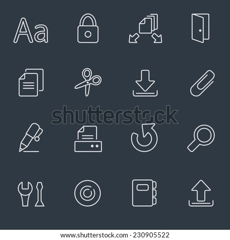 Document icon set, thin line design, dark background - stock vector