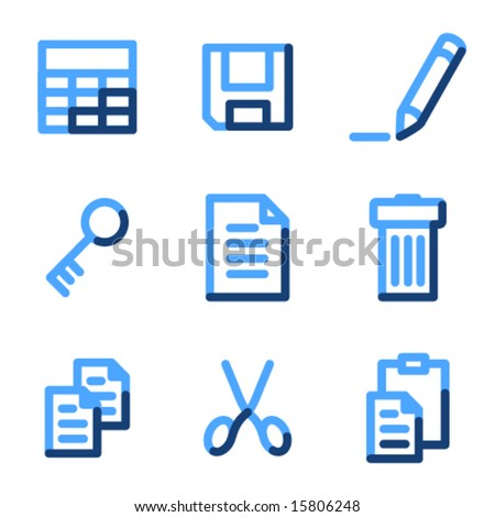 Document icons, blue contour series - stock vector