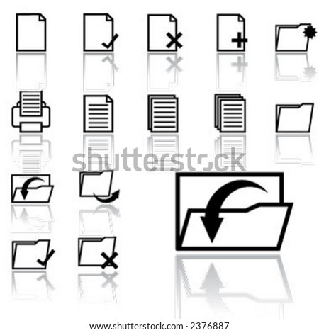 document icons (light version) - stock vector