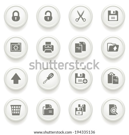 Document icons on gray buttons.