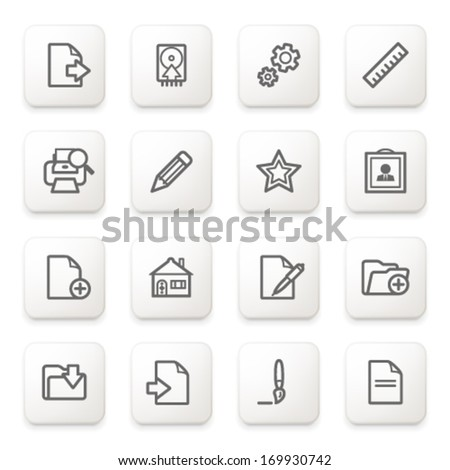 Document icons on white buttons.