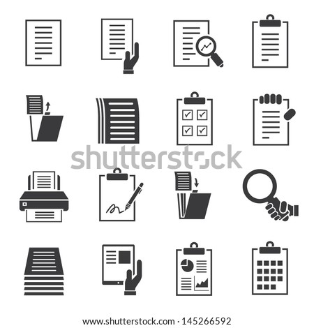 document icons set, business information - stock vector