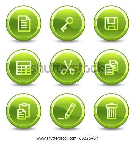 Document icons set 1, green circle glossy buttons - stock vector