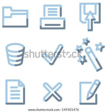 Document icons set 2, light blue contour - stock vector