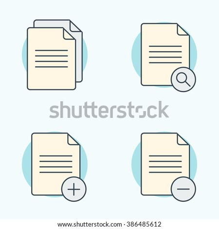Document icons set. Search, remove, add document icon. Vector illustration - stock vector