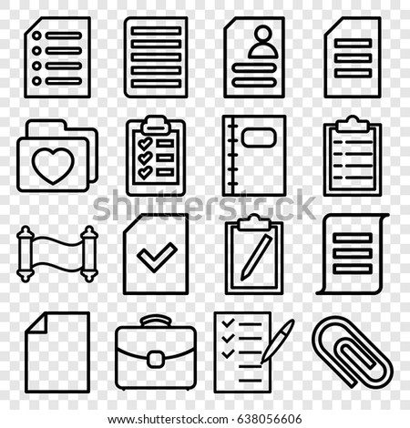 document icons set set of 16 document outline icons such as resume check list