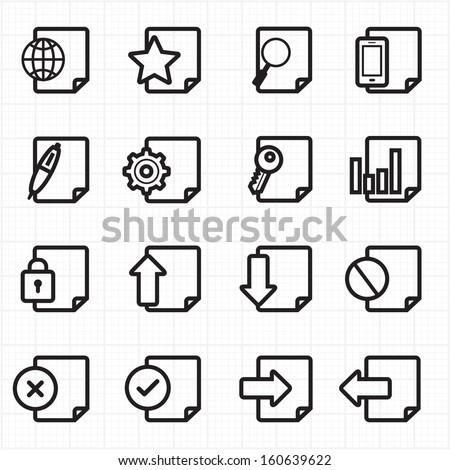 Document icons vector - stock vector