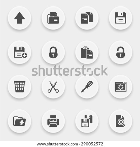 Document icons with buttons on gray background.