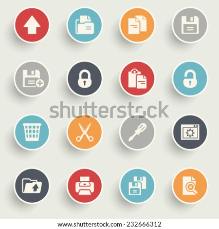 Document icons with color buttons on gray background.