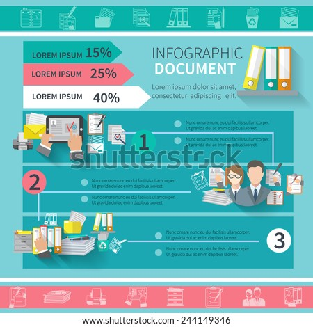 Document infographics set with contract office supplies organizing elements and charts vector illustration - stock vector