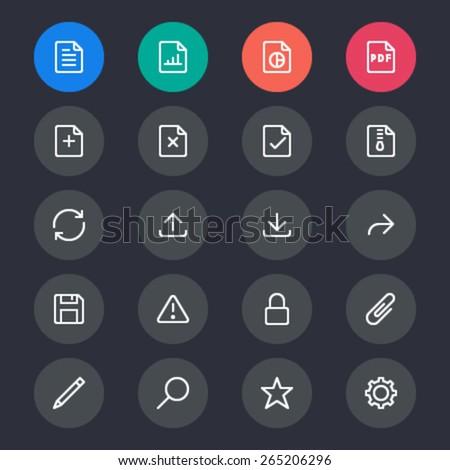 Document line icons - stock vector