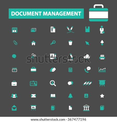 document management, business  icons, signs vector concept set for infographics, mobile, website, application