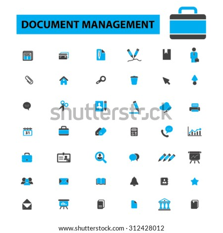 Document management icons concept. Business paper, report, file, folder, contract, form,  book, document storage, records management, scanning documents, workflow. Vector illustration set. - stock vector