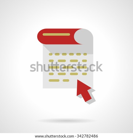 Document page and red arrow. Writing articles, blogging, news making and copywriting. Flat color style vector icon. Single web design element for mobile app or website.