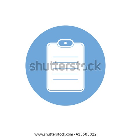 Document paper vector icon. Notes illustration. Blue circle. Blue button - stock vector